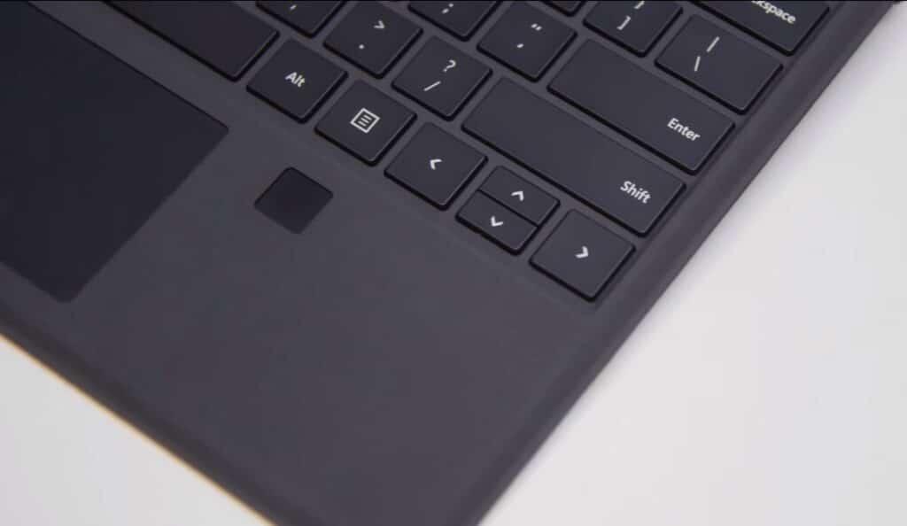 Teclado Surface Pro con sensor de huellas